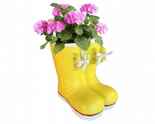 Wellington Boots Flower Pot Planter in Yellow